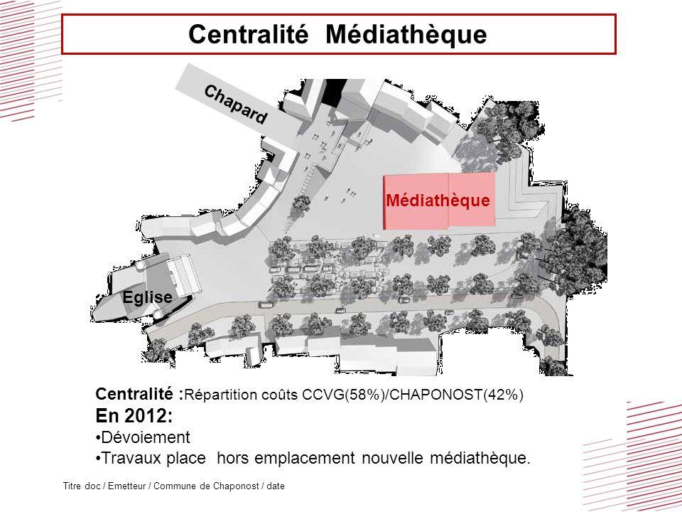 Titre doc / Emetteur / Commune de Chaponost / date Eglise Médiathèque Chapard Centralité Médiathèque Centralité : Répartition coûts CCVG(58%)/CHAPONOST(42%) En 2012: Dévoiement Travaux place hors emplacement nouvelle médiathèque.