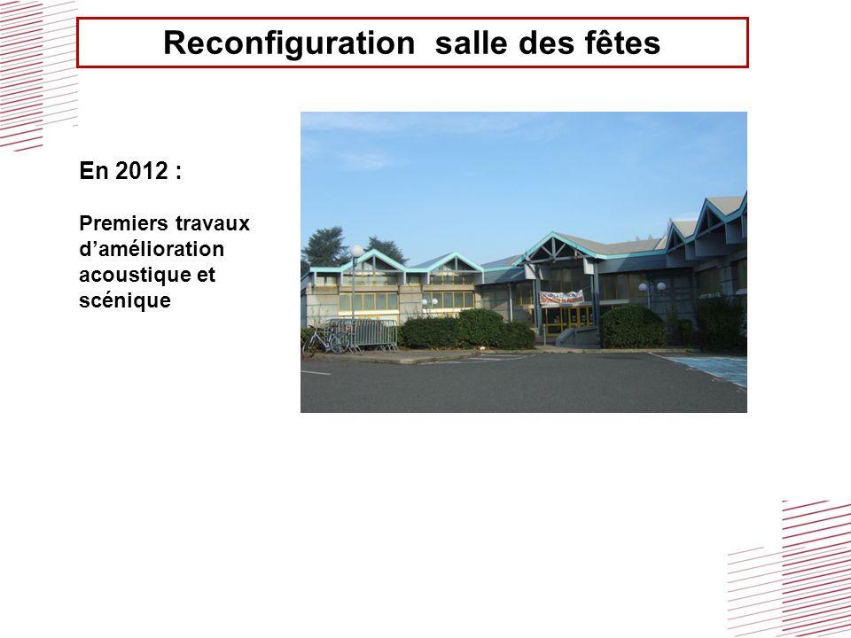Reconfiguration salle des fêtes En 2012 : Premiers travaux damélioration acoustique et scénique