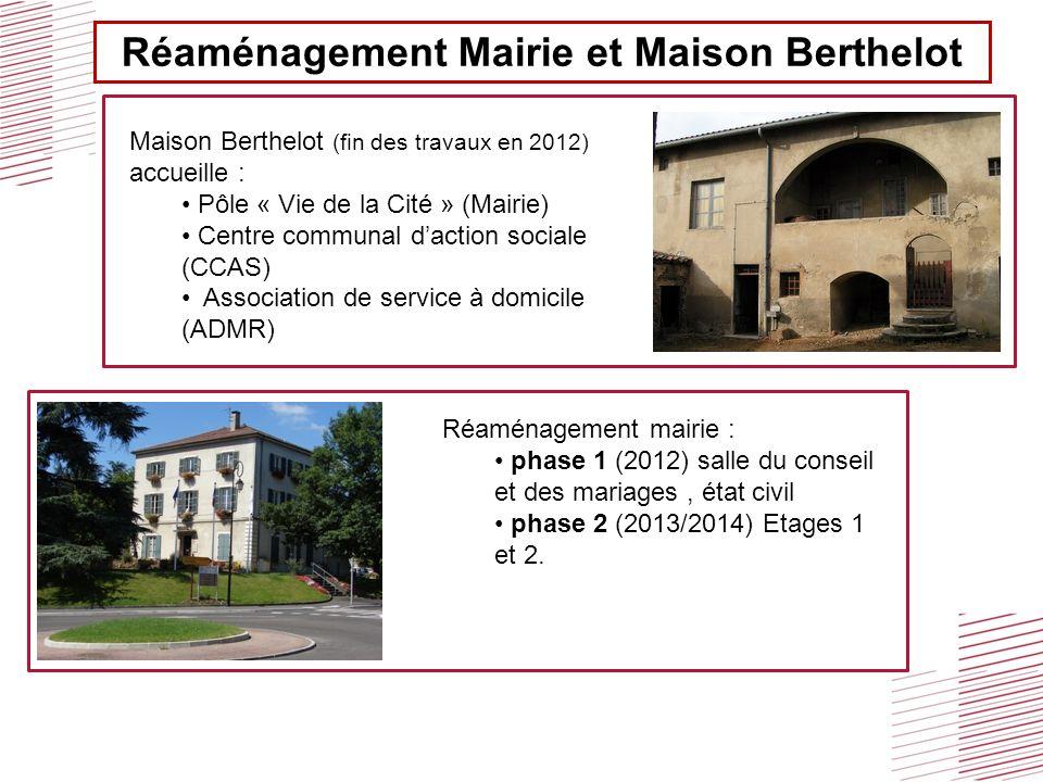 Réaménagement Mairie et Maison Berthelot Maison Berthelot (fin des travaux en 2012) accueille : Pôle « Vie de la Cité » (Mairie) Centre communal dacti