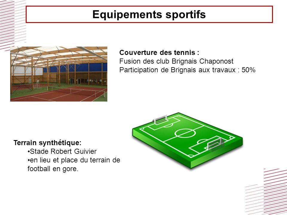 Equipements sportifs Couverture des tennis : Fusion des club Brignais Chaponost Participation de Brignais aux travaux : 50% Terrain synthétique: Stade