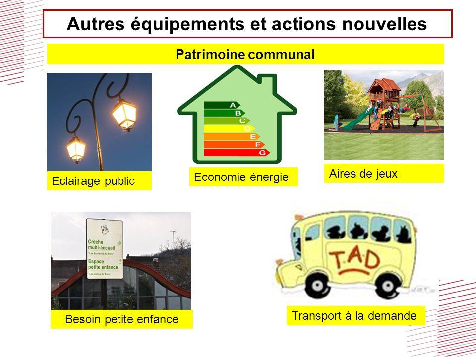 Autres équipements et actions nouvelles Besoin petite enfance Transport à la demande Eclairage public Economie énergie Patrimoine communal Aires de je