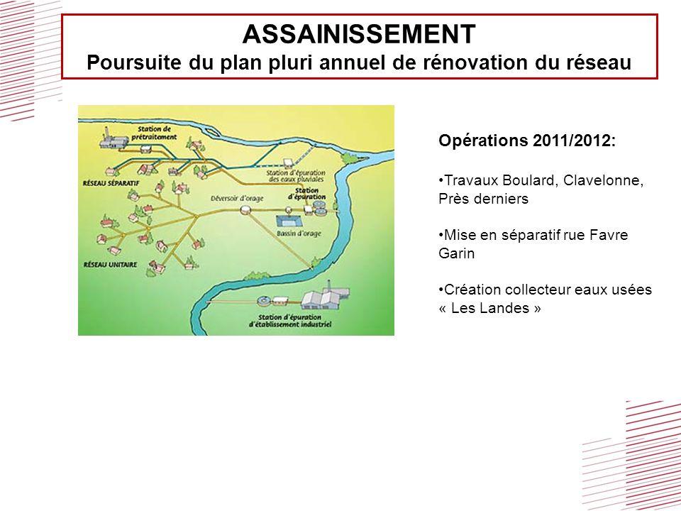 ASSAINISSEMENT Poursuite du plan pluri annuel de rénovation du réseau Opérations 2011/2012: Travaux Boulard, Clavelonne, Près derniers Mise en séparat