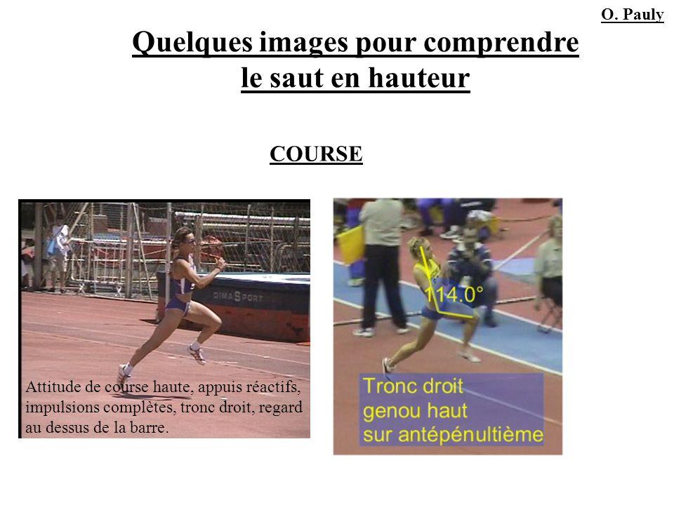 Quelques images pour comprendre le saut en hauteur Attitude de course haute, appuis réactifs, impulsions complètes, tronc droit, regard au dessus de l