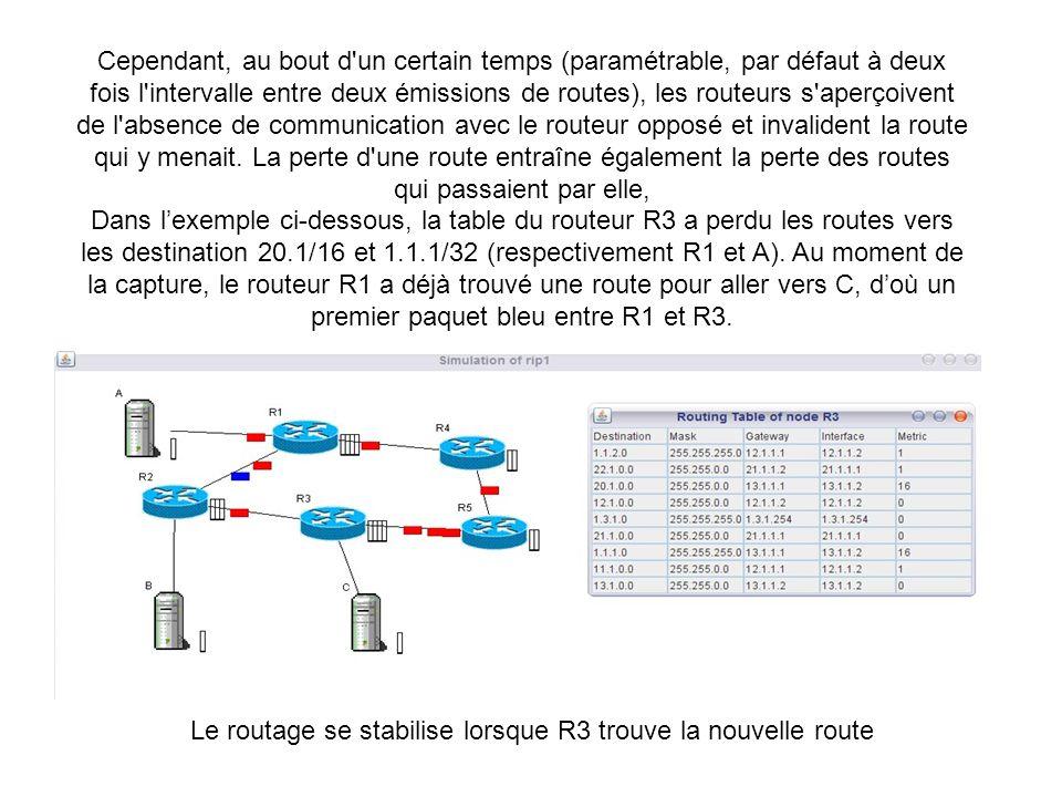 Cependant, au bout d'un certain temps (paramétrable, par défaut à deux fois l'intervalle entre deux émissions de routes), les routeurs s'aperçoivent d