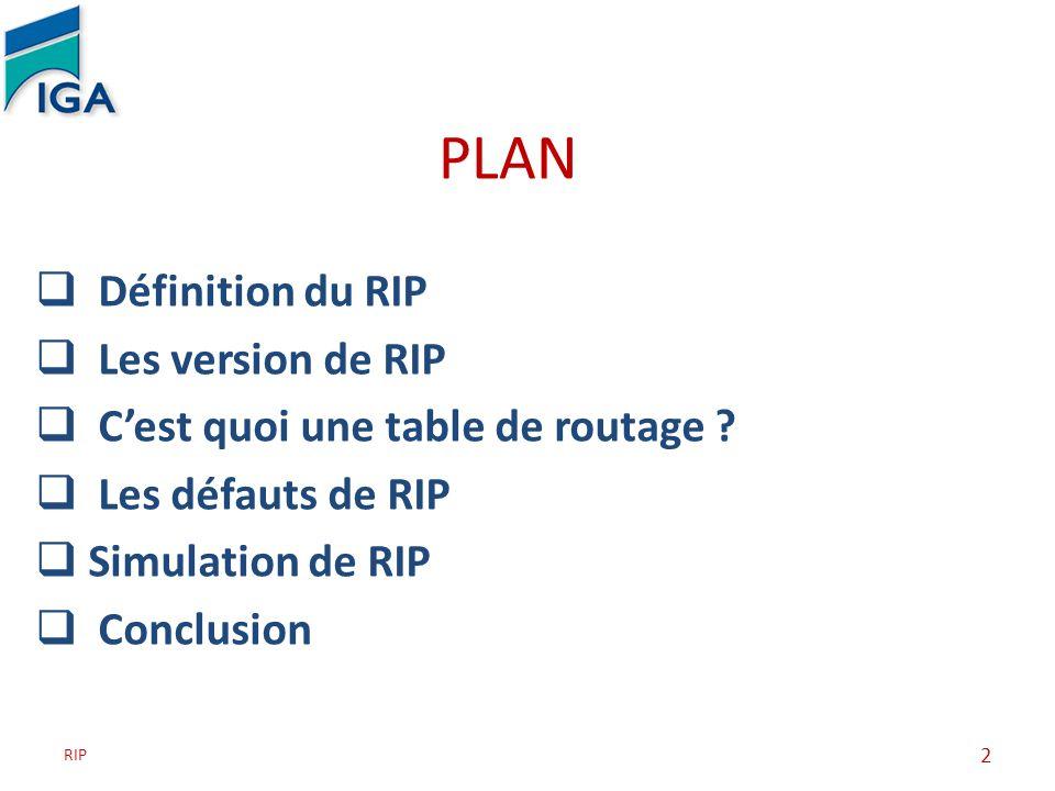 PLAN Définition du RIP Les version de RIP Cest quoi une table de routage ? Les défauts de RIP Simulation de RIP Conclusion RIP 2