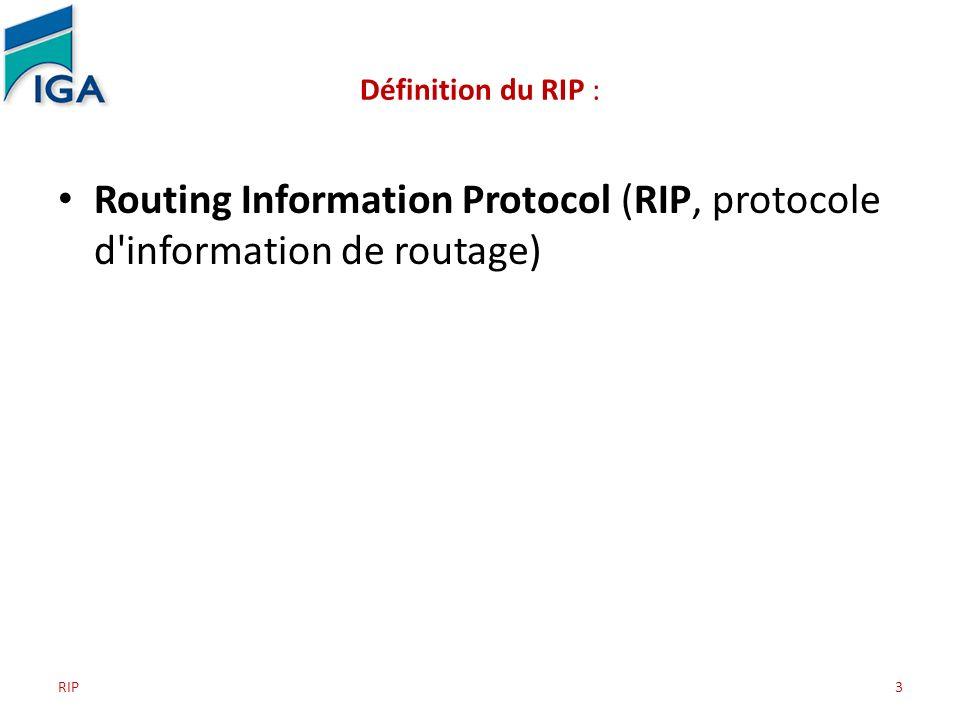 3 Définition du RIP : Routing Information Protocol (RIP, protocole d'information de routage)