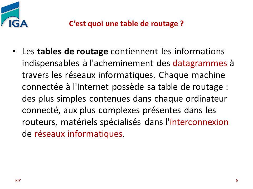 RIP6 Cest quoi une table de routage ? Les tables de routage contiennent les informations indispensables à l'acheminement des datagrammes à travers les