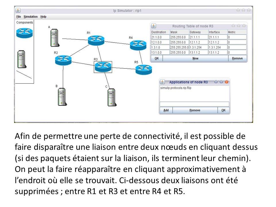 Afin de permettre une perte de connectivité, il est possible de faire disparaître une liaison entre deux nœuds en cliquant dessus (si des paquets étai