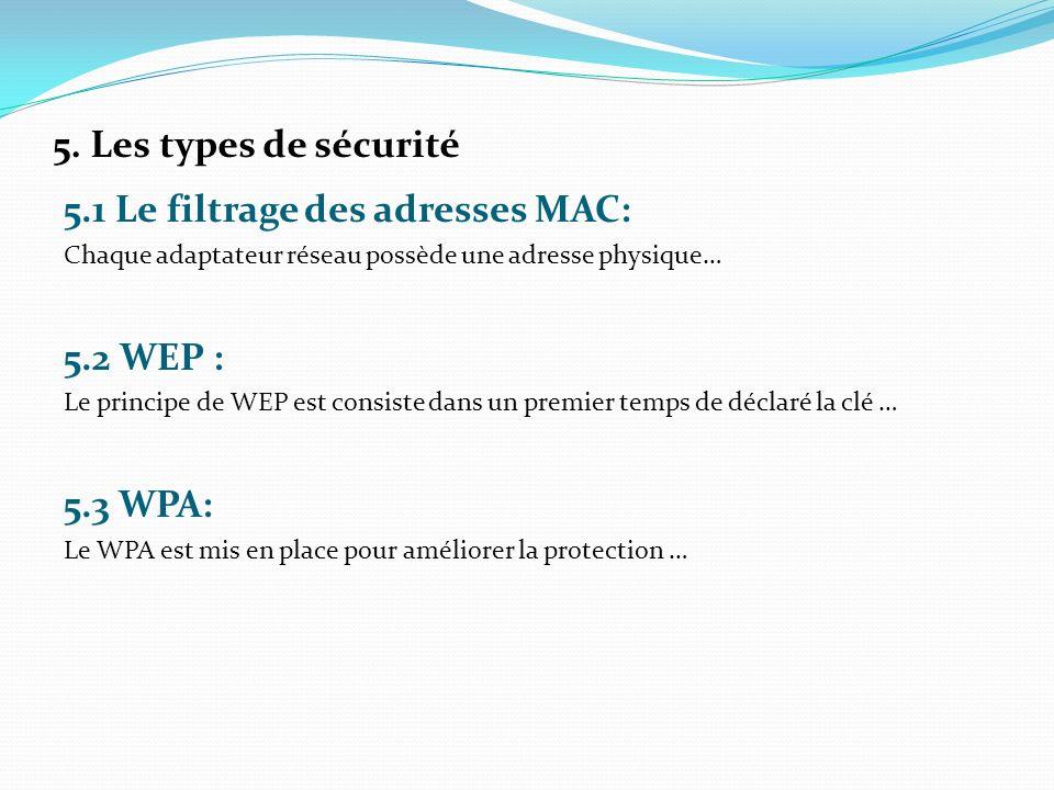 5. Les types de sécurité 5.1 Le filtrage des adresses MAC: Chaque adaptateur réseau possède une adresse physique… 5.2 WEP : Le principe de WEP est con