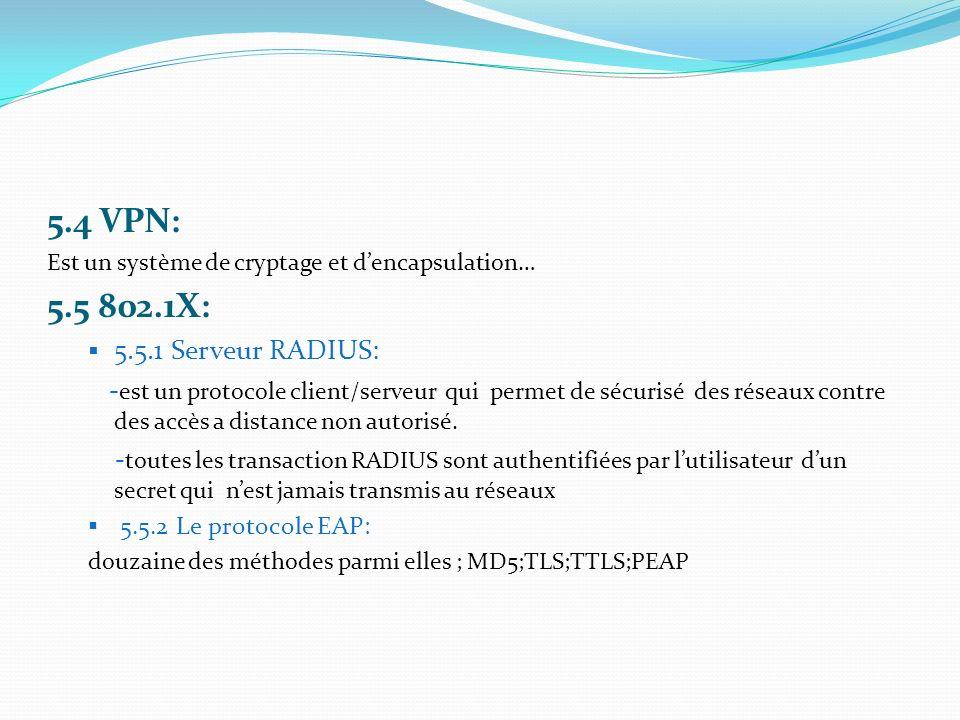 5.4 VPN: Est un système de cryptage et dencapsulation… 5.5 802.1X: 5.5.1 Serveur RADIUS: - est un protocole client/serveur qui permet de sécurisé des réseaux contre des accès a distance non autorisé.