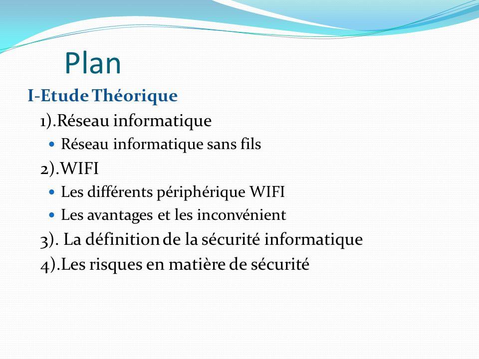 I-Etude Théorique 1).Réseau informatique Réseau informatique sans fils 2).WIFI Les différents périphérique WIFI Les avantages et les inconvénient 3).