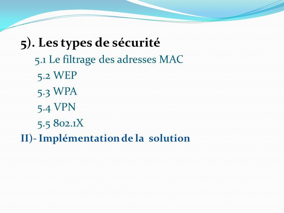 5). Les types de sécurité 5.1 Le filtrage des adresses MAC 5.2 WEP 5.3 WPA 5.4 VPN 5.5 802.1X II)- Implémentation de la solution