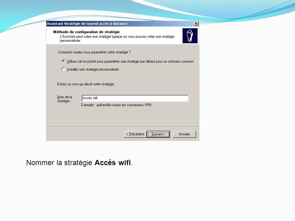 Nommer la stratégie Accés wifi.