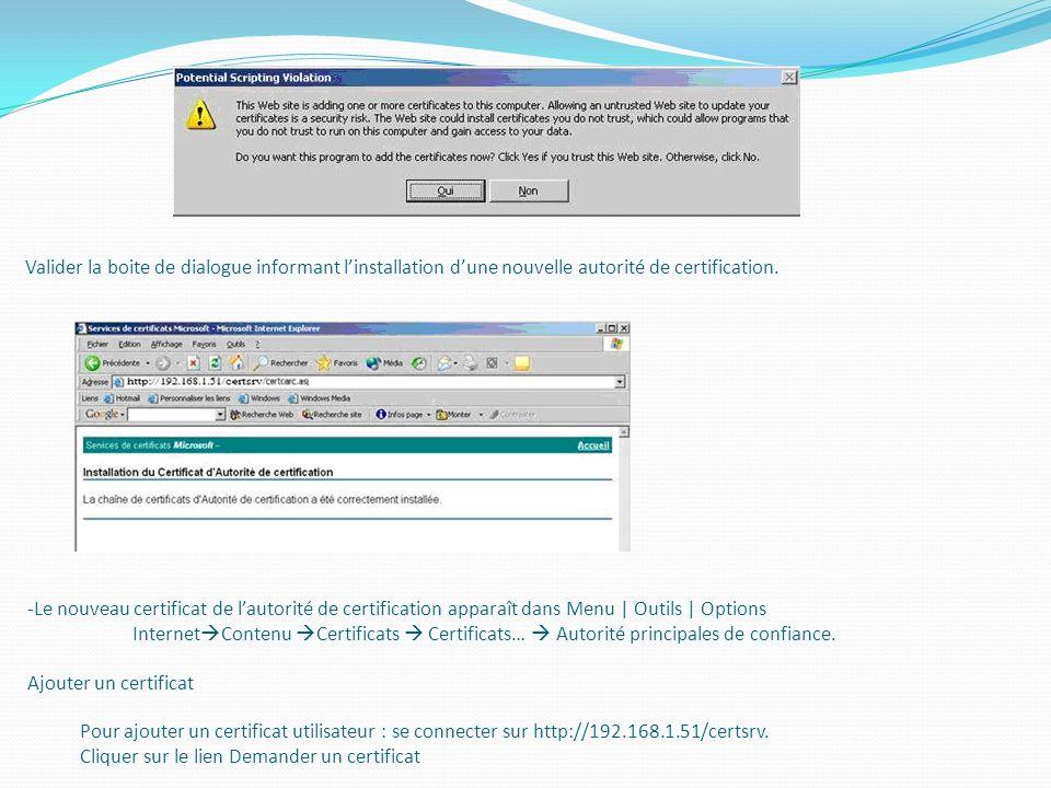 Valider la boite de dialogue informant linstallation dune nouvelle autorité de certification. -Le nouveau certificat de lautorité de certification app