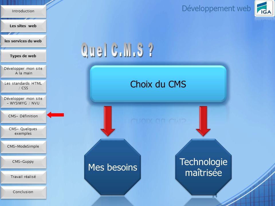 14 Développement web Les sites web les services du web Développer mon site A la main Développer mon site A la main Types de web Les standards HTML / CSS Développer mon site – WYSIWYG / NVU CMS- Définition CMS- Quelques exemples CMS-ModeSimple Conclusion CMS-Guppy Travail réalisé Introduction