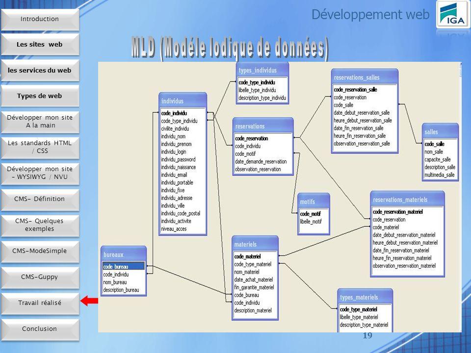 19 Développement web Les sites web les services du web Développer mon site A la main Développer mon site A la main Types de web Les standards HTML / CSS Développer mon site – WYSIWYG / NVU CMS- Définition CMS- Quelques exemples CMS-ModeSimple Conclusion CMS-Guppy Travail réalisé Introduction