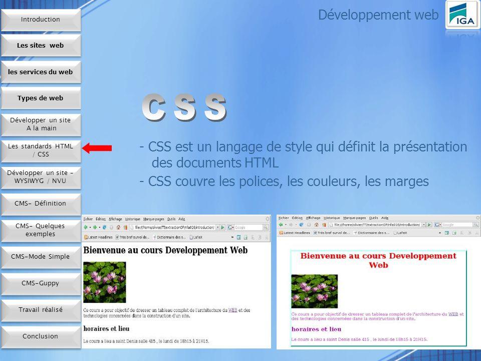 10 Avantages De nombreuses techniques évoluées et sophistiquées Un contrôle plus précis de la présentation Le contrôle de la présentation de plusieurs documents par une seule feuille de style Développement web Les sites web les services du web Développer mon site A la main Développer mon site A la main Types de web Les standards HTML / CSS Développer mon site – WYSIWYG / NVU CMS- Définition CMS- Quelques exemples CMS-ModeSimple Conclusion CMS-Guppy Travail réalisé Introduction