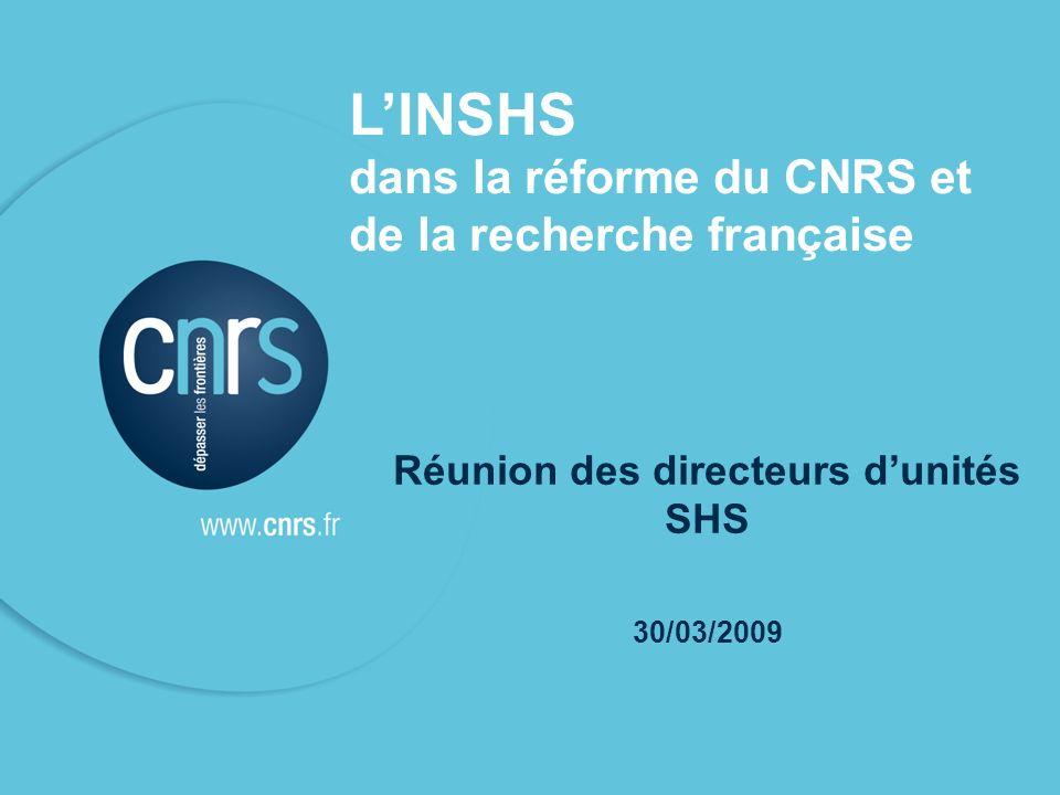 P. 01 1 LINSHS dans la réforme du CNRS et de la recherche française Réunion des directeurs dunités SHS 30/03/2009