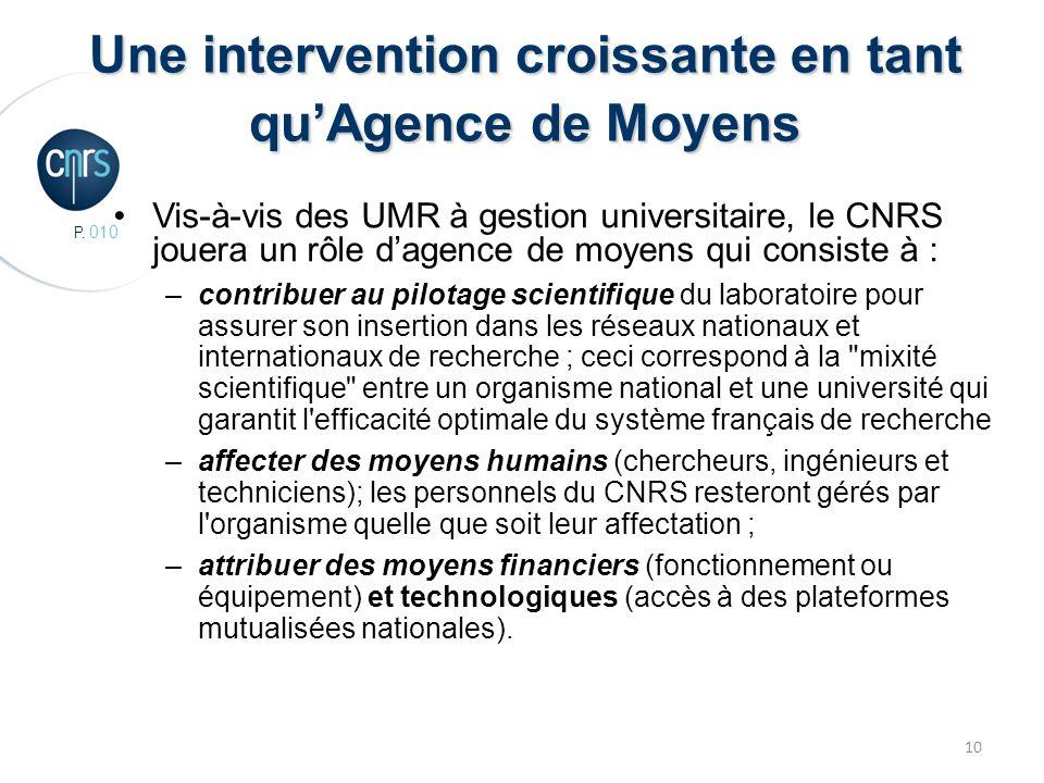 P. 010 10 Une intervention croissante en tant quAgence de Moyens Vis-à-vis des UMR à gestion universitaire, le CNRS jouera un rôle dagence de moyens q