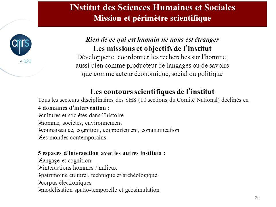 P. 020 20 INstitut des Sciences Humaines et Sociales Mission et périmètre scientifique Rien de ce qui est humain ne nous est étranger Les missions et