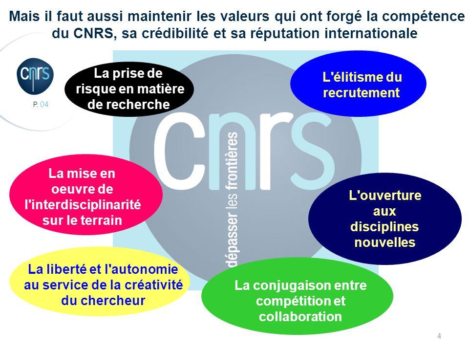 P. 04 4 Mais il faut aussi maintenir les valeurs qui ont forgé la compétence du CNRS, sa crédibilité et sa réputation internationale La mise en oeuvre