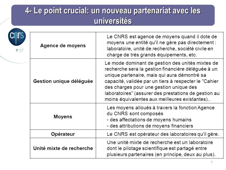 P. 07 7 Agence de moyens Le CNRS est agence de moyens quand il dote de moyens une entité qu'il ne gère pas directement : laboratoire, unité de recherc