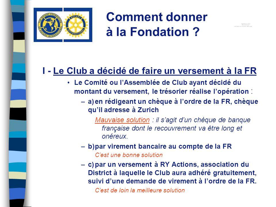 I - Le Club a décidé de faire un versement à la FR Le Comité ou lAssemblée de Club ayant décidé du montant du versement, le trésorier réalise lopérati