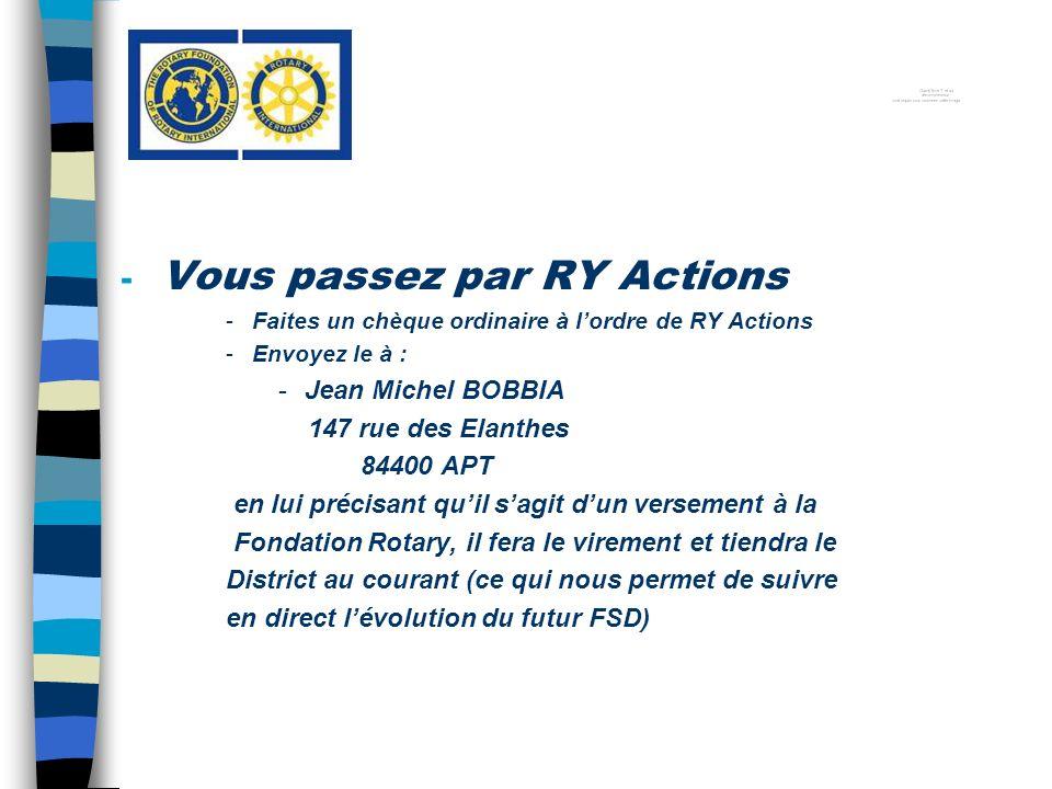 - Vous passez par RY Actions -Faites un chèque ordinaire à lordre de RY Actions -Envoyez le à : -Jean Michel BOBBIA 147 rue des Elanthes 84400 APT en