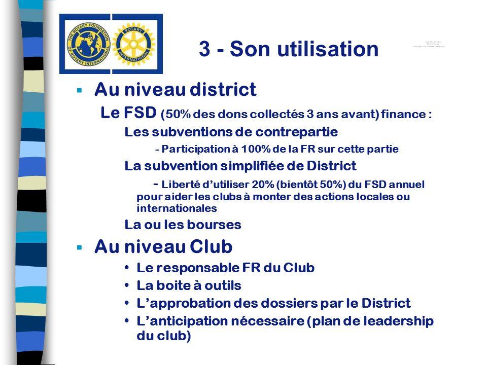 Au niveau district Le FSD (50% des dons collectés 3 ans avant) finance : Les subventions de contrepartie - Participation à 100% de la FR sur cette par
