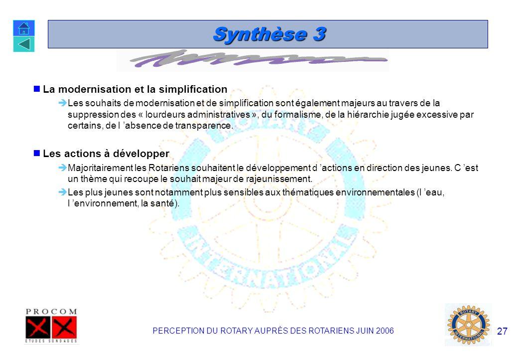 PERCEPTION DU ROTARY AUPRÈS DES ROTARIENS JUIN 2006 26 Synthèse 2 Le renforcement de la communication La quasi totalité des Rotariens s accordent pour