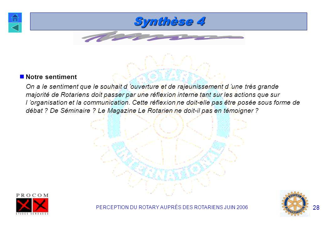 PERCEPTION DU ROTARY AUPRÈS DES ROTARIENS JUIN 2006 27 Synthèse 3 La modernisation et la simplification Les souhaits de modernisation et de simplifica