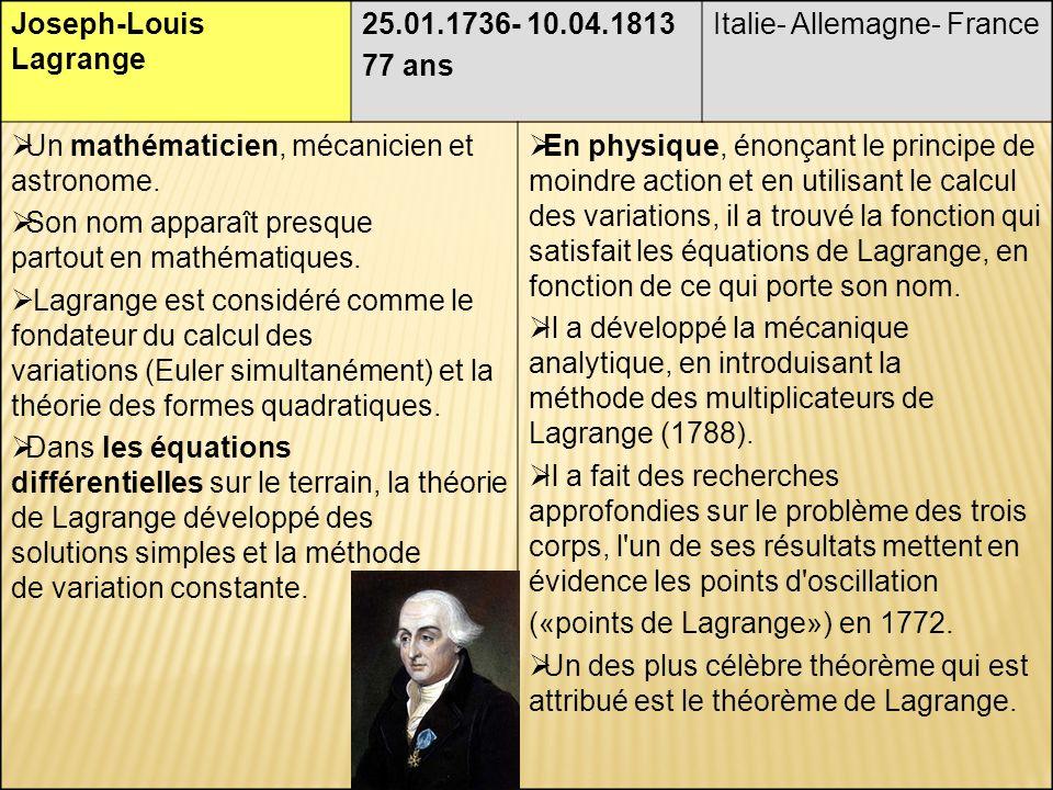Joseph-Louis Lagrange 25.01.1736- 10.04.1813 77 ans Italie- Allemagne- France Un mathématicien, mécanicien et astronome.