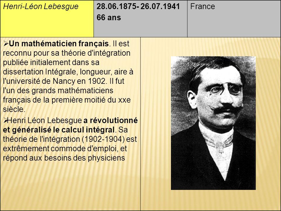 Henri-Léon Lebesgue28.06.1875- 26.07.1941 66 ans France Un mathématicien français.
