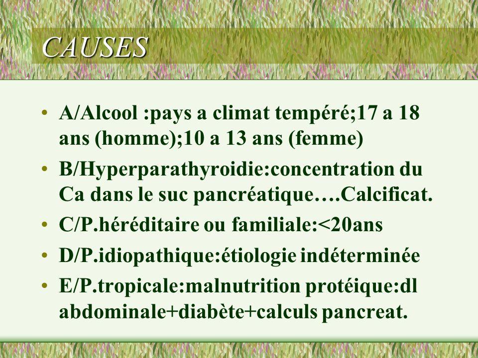 CAUSES A/Alcool :pays a climat tempéré;17 a 18 ans (homme);10 a 13 ans (femme) B/Hyperparathyroidie:concentration du Ca dans le suc pancréatique….Calc