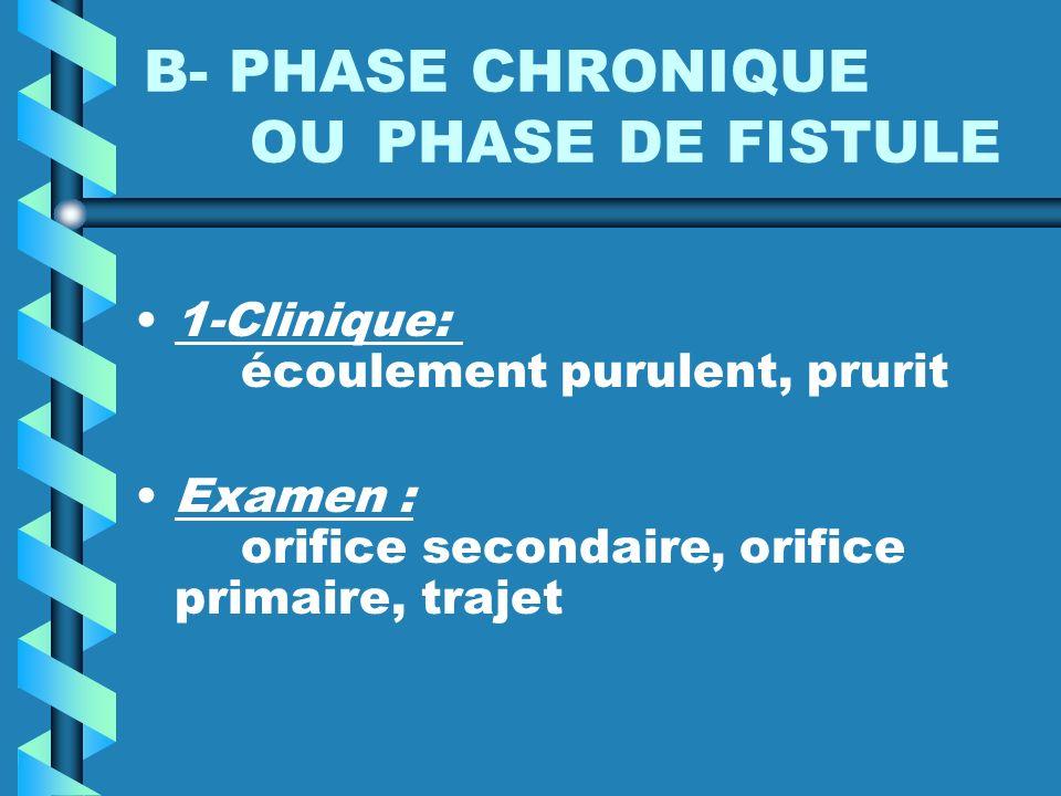 B- PHASE CHRONIQUE OU PHASE DE FISTULE 1-Clinique: écoulement purulent, prurit Examen : orifice secondaire, orifice primaire, trajet