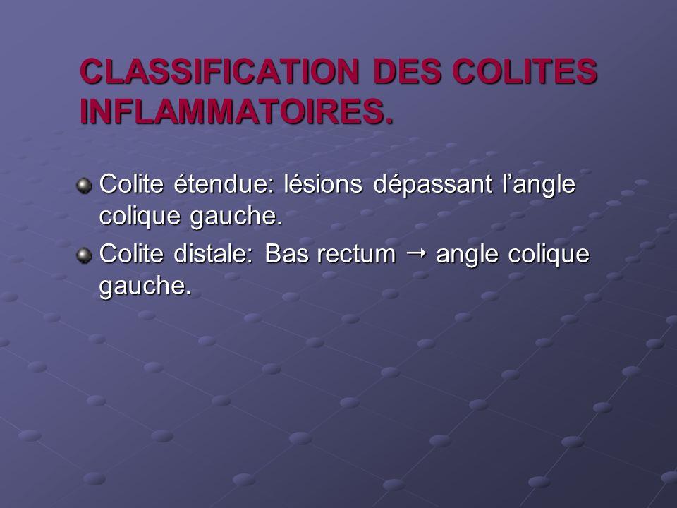 CLASSIFICATION DES COLITES INFLAMMATOIRES. Colite étendue: lésions dépassant langle colique gauche. Colite distale: Bas rectum angle colique gauche.