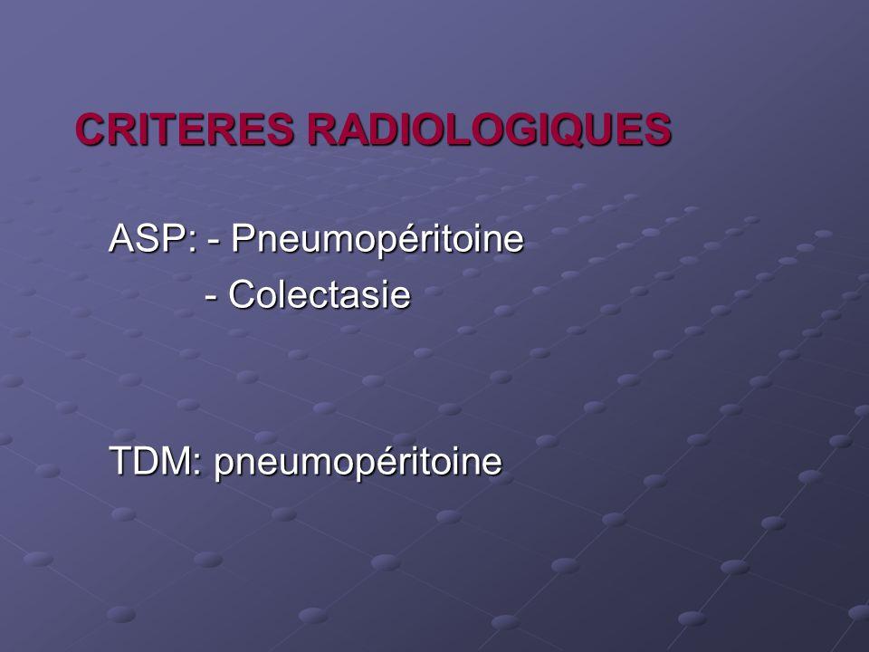 CRITERES RADIOLOGIQUES ASP: - Pneumopéritoine - Colectasie - Colectasie TDM: pneumopéritoine