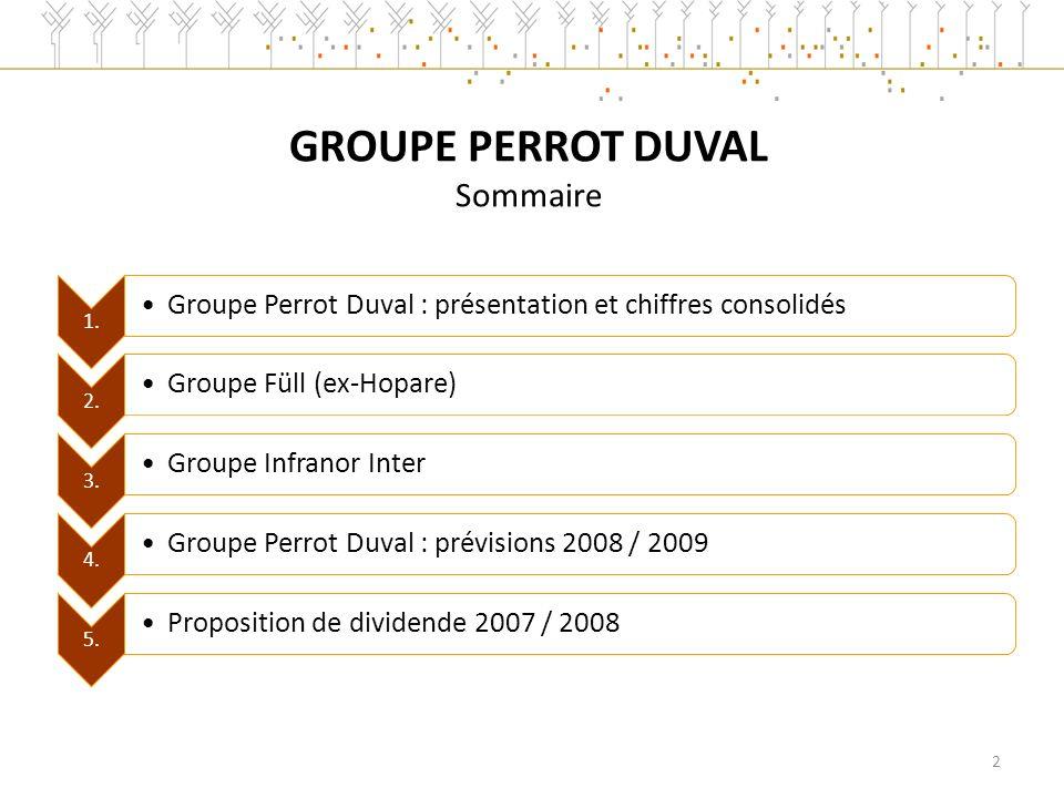 1.Groupe Perrot Duval : présentation et chiffres consolidés 2.