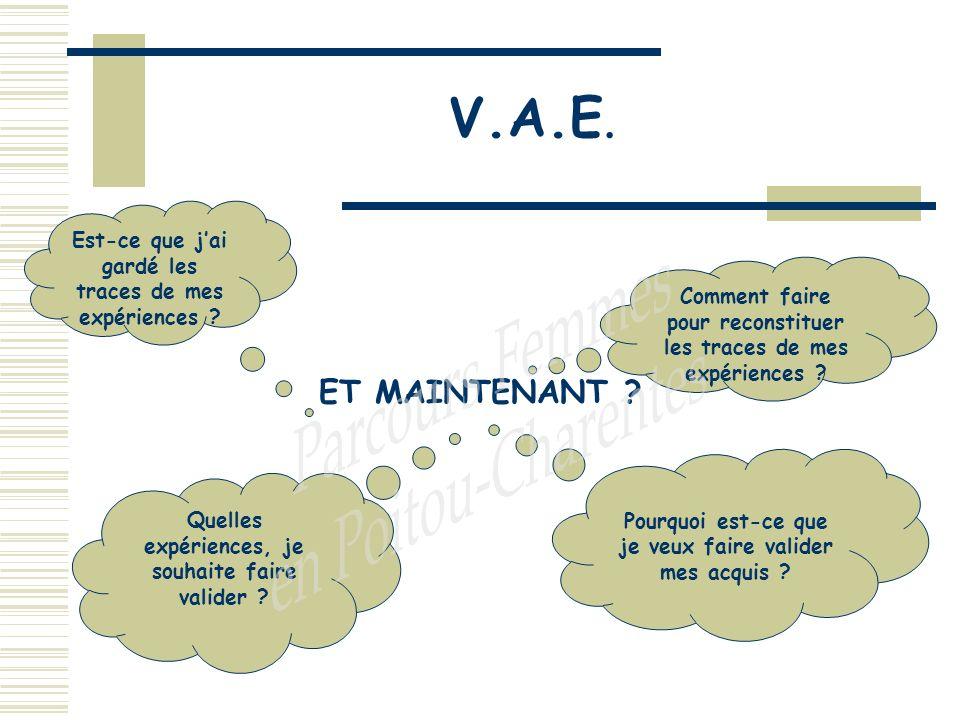 V.A.E. ET MAINTENANT . Comment faire pour reconstituer les traces de mes expériences .