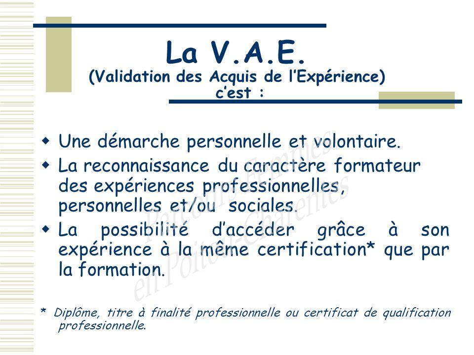 La V.A.E. (Validation des Acquis de lExpérience) cest : Une démarche personnelle et volontaire.
