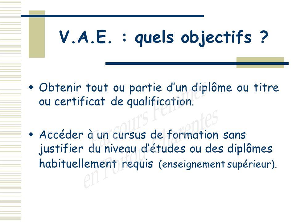 V.A.E. : quels objectifs .