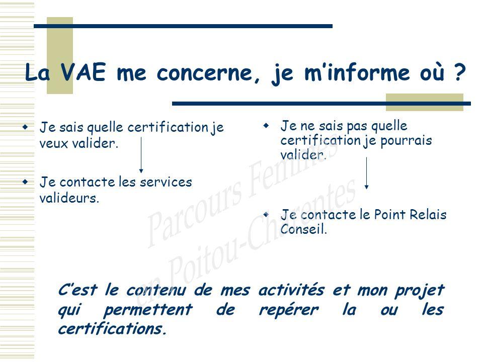 La VAE me concerne, je minforme où . Je sais quelle certification je veux valider.