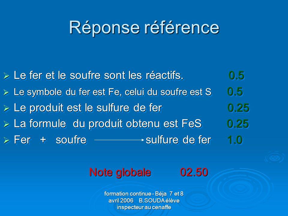 formation continue - Béja 7 et 8 avril 2006 B.SOUDA élève inspecteur au cenaffe Réponse référence Le fer et le soufre sont les réactifs. 0.5 Le fer et