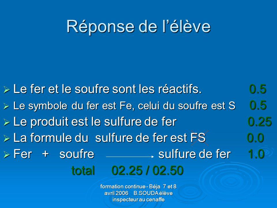 formation continue - Béja 7 et 8 avril 2006 B.SOUDA élève inspecteur au cenaffe Réponse de lélève Le fer et le soufre sont les réactifs. 0.5 Le fer et
