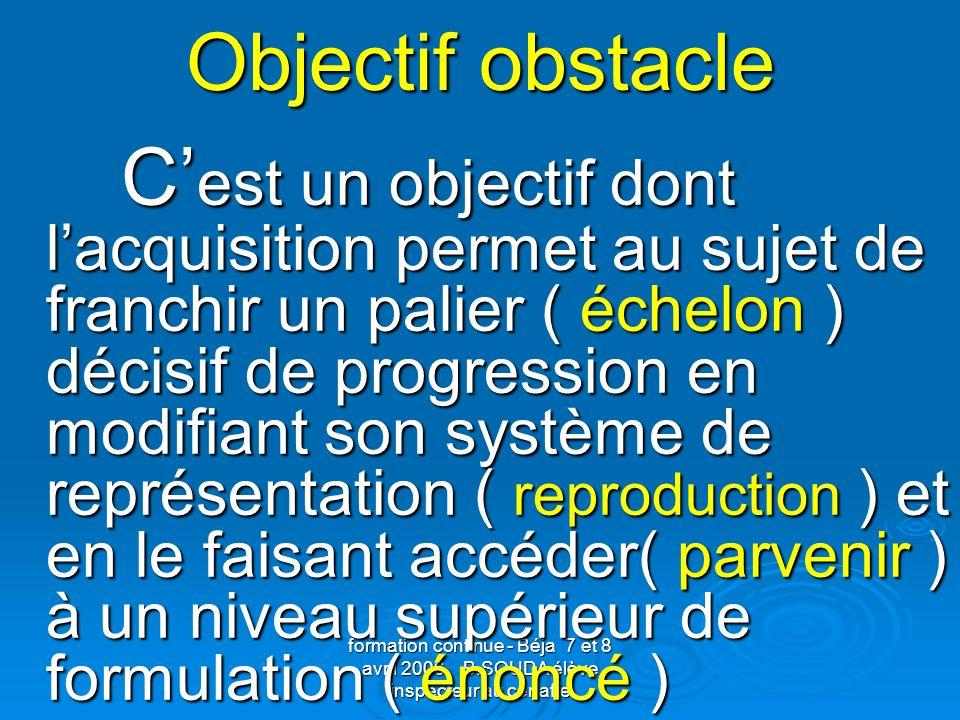 formation continue - Béja 7 et 8 avril 2006 B.SOUDA élève inspecteur au cenaffe Objectif obstacle C est un objectif dont lacquisition permet au sujet