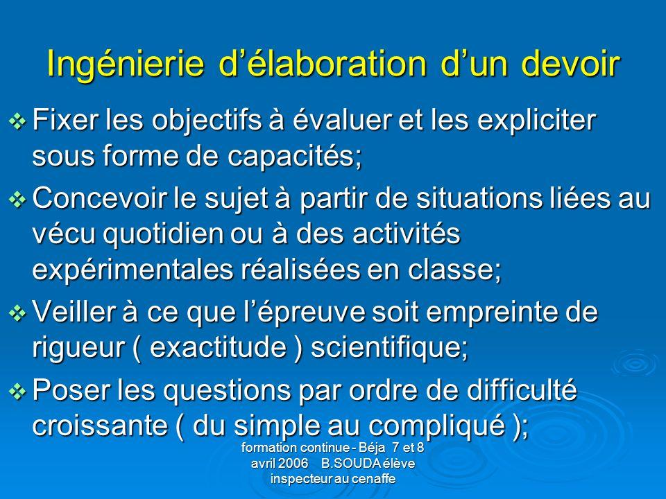 formation continue - Béja 7 et 8 avril 2006 B.SOUDA élève inspecteur au cenaffe Ingénierie délaboration dun devoir Fixer les objectifs à évaluer et le