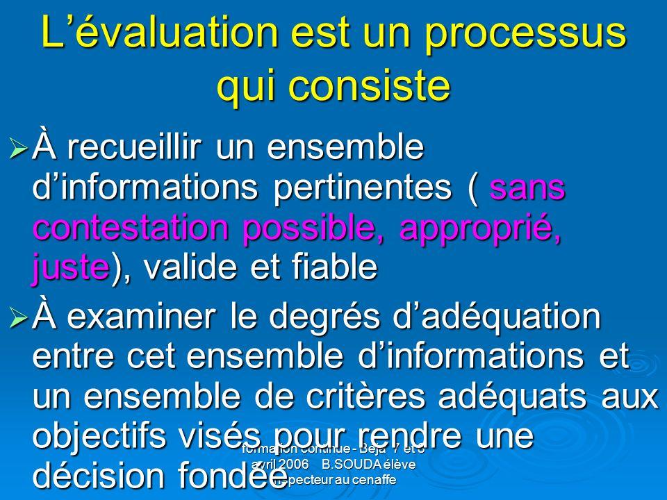 formation continue - Béja 7 et 8 avril 2006 B.SOUDA élève inspecteur au cenaffe Lévaluation au service de la pédagogie et de la didactique Pourquoi évaluer.