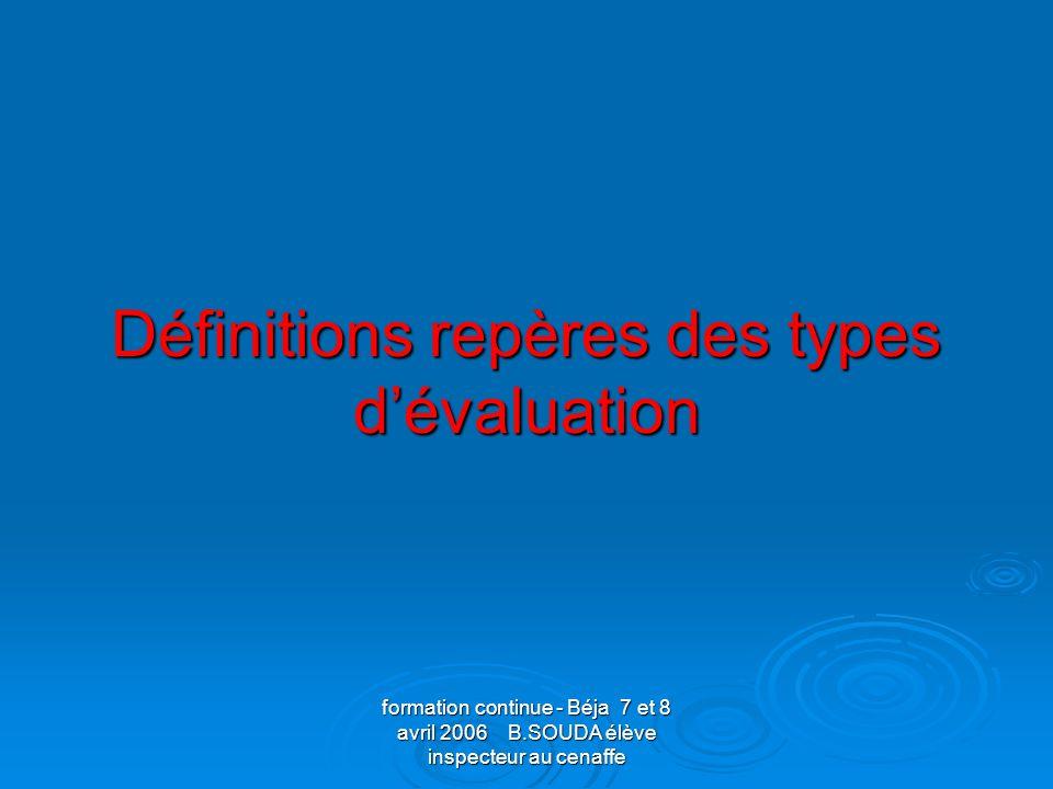 formation continue - Béja 7 et 8 avril 2006 B.SOUDA élève inspecteur au cenaffe Lévaluation normative Mode dévaluation où la performance dun sujet est comparée et traduite habituellement par des indices exprimés en termes de rang.
