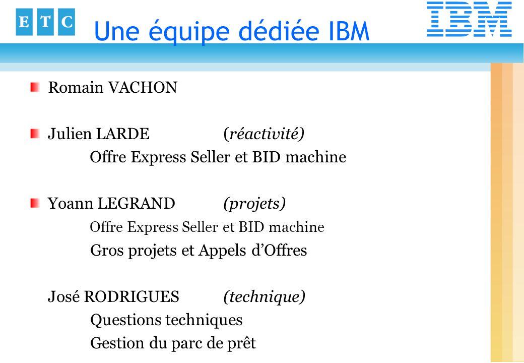 Une équipe dédiée IBM Romain VACHON Julien LARDE (réactivité) Offre Express Seller et BID machine Yoann LEGRAND (projets) Offre Express Seller et BID
