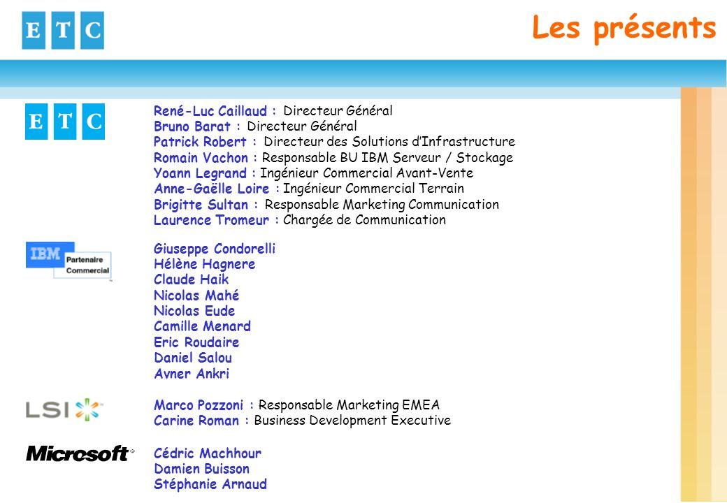 Les présents René-Luc Caillaud : Directeur Général Bruno Barat : Directeur Général Patrick Robert : Directeur des Solutions dInfrastructure Romain Vac
